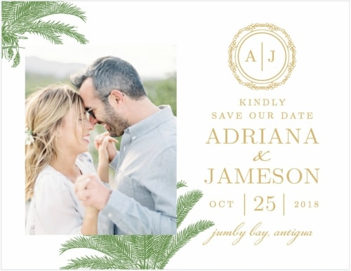 foil palm destination wedding save the date