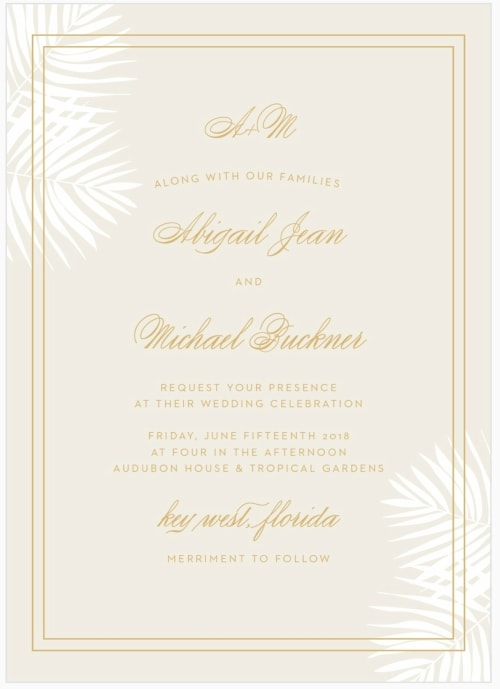 foil palm frond destination wedding invitation