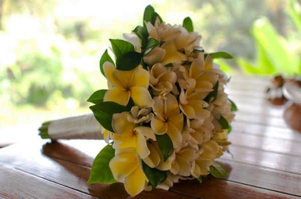 frangipani beach wedding bouquets