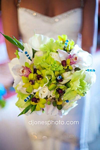 green orchid beach wedding bouquet