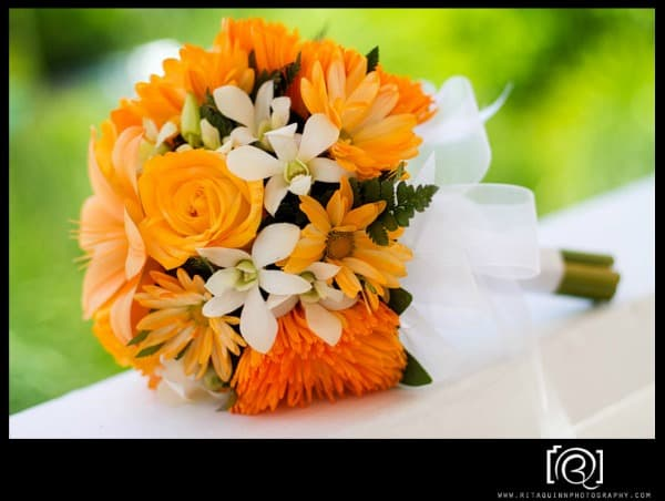 orange beach wedding bouquets