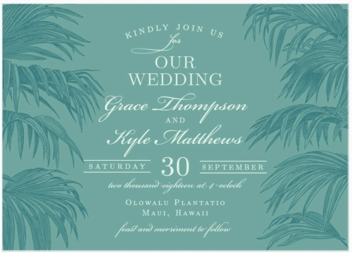 palm destination wedding invitation