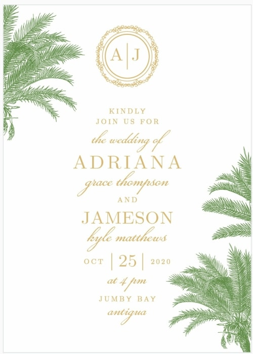 palm foil destination wedding invitation