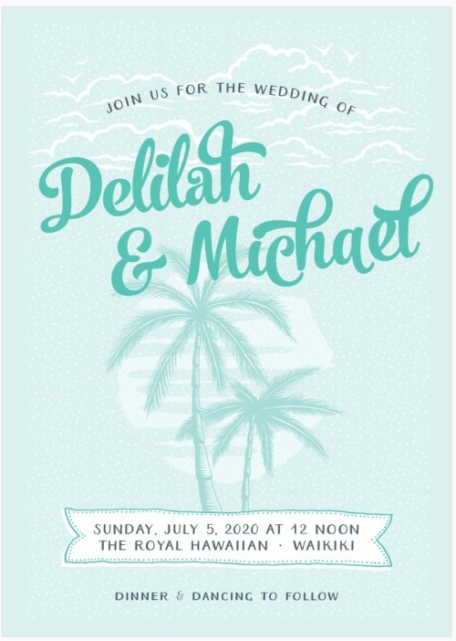 palm tree destination wedding invitation