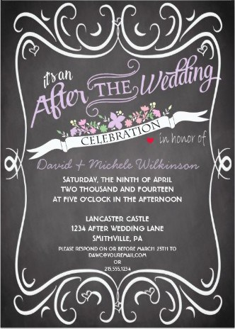 After Destination Wedding Reception Invitation