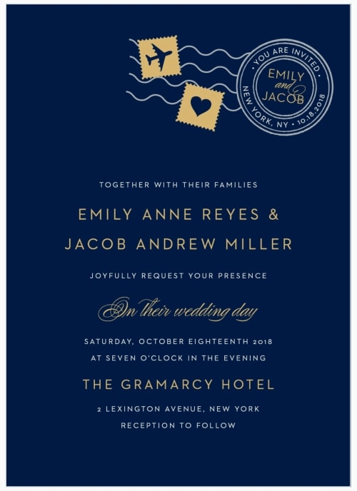 post mark destination wedding invitation