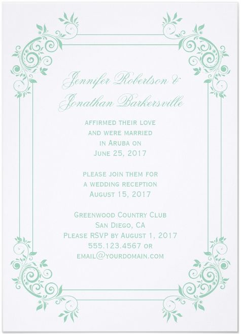 vintage post wedding reception invitations - Post Wedding Reception Invitation Wording