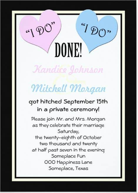 Elopement Invitation Wording For Reception with best invitations template