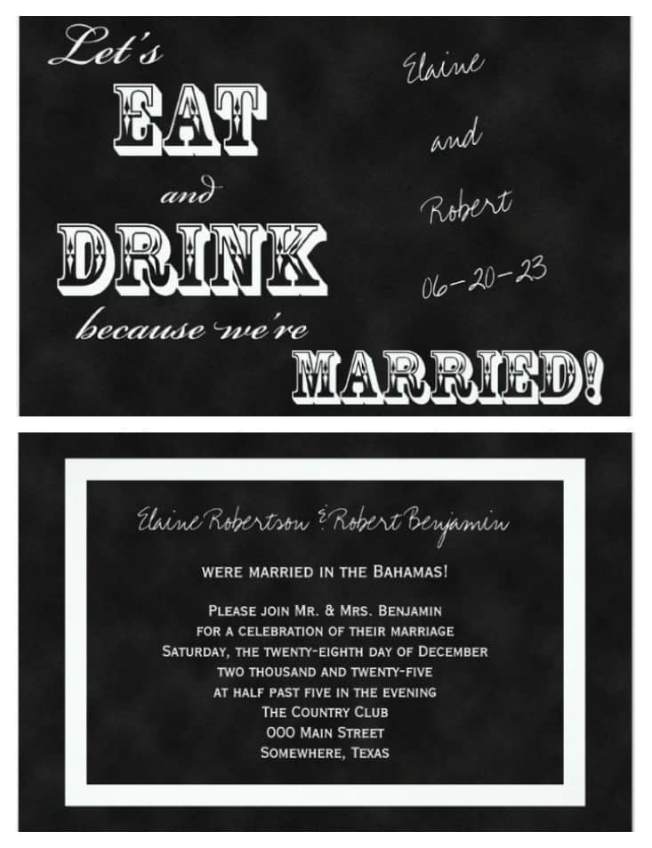at home wedding reception invitations with a chalkboard design