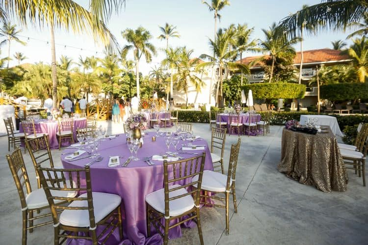 purple and gold destination wedding in Dominican Republic