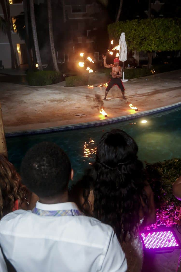 fire dancers in Dominican Republic wedding