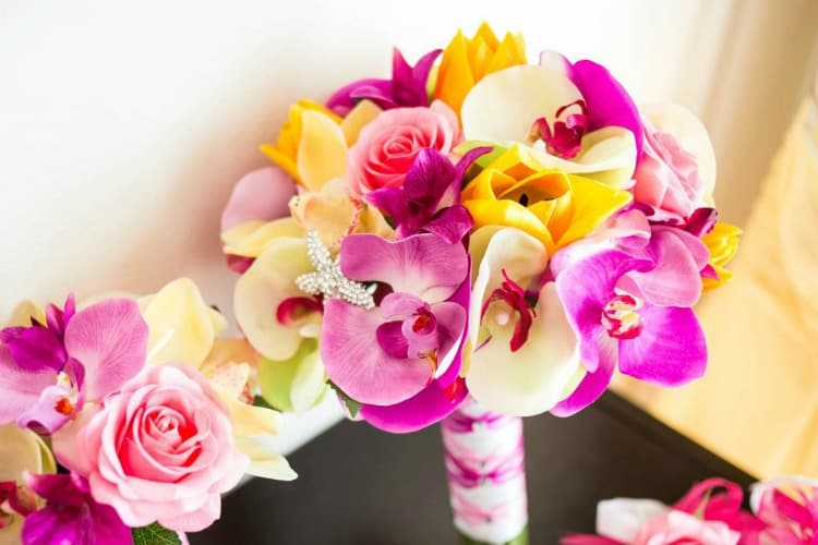 real touch wedding bouquet-orchids