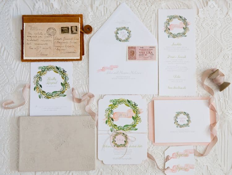 Vintage Florence wedding invitations