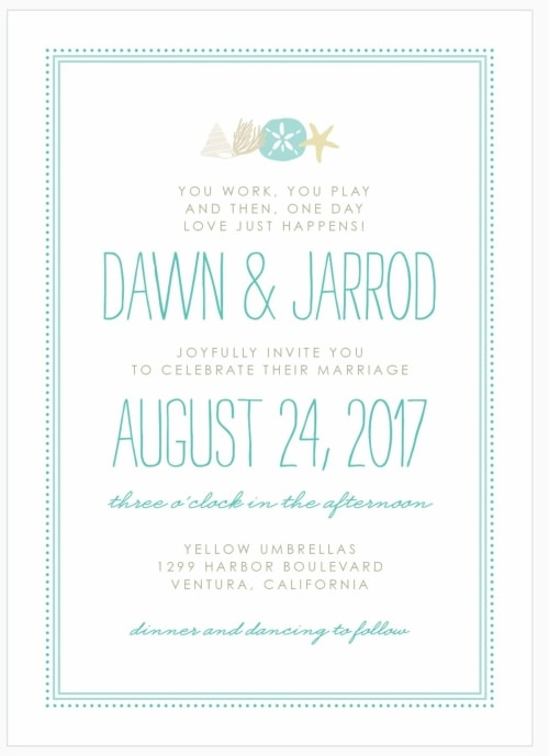 seashell destination wedding invitation
