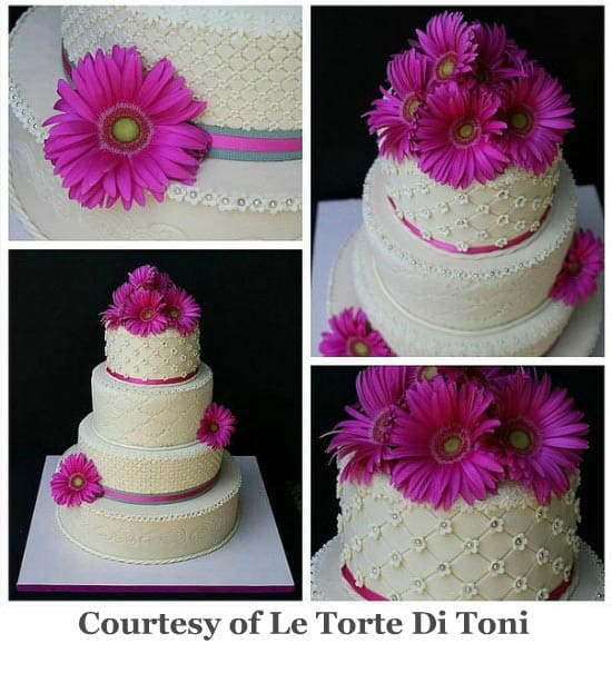 gerbera tropical beach wedding cake
