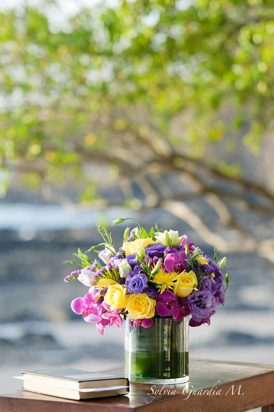 tropical beach wedding centerpieces