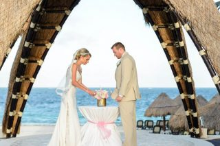 Pink and Gold Destination Wedding at Dreams Riviera Cancun Resort