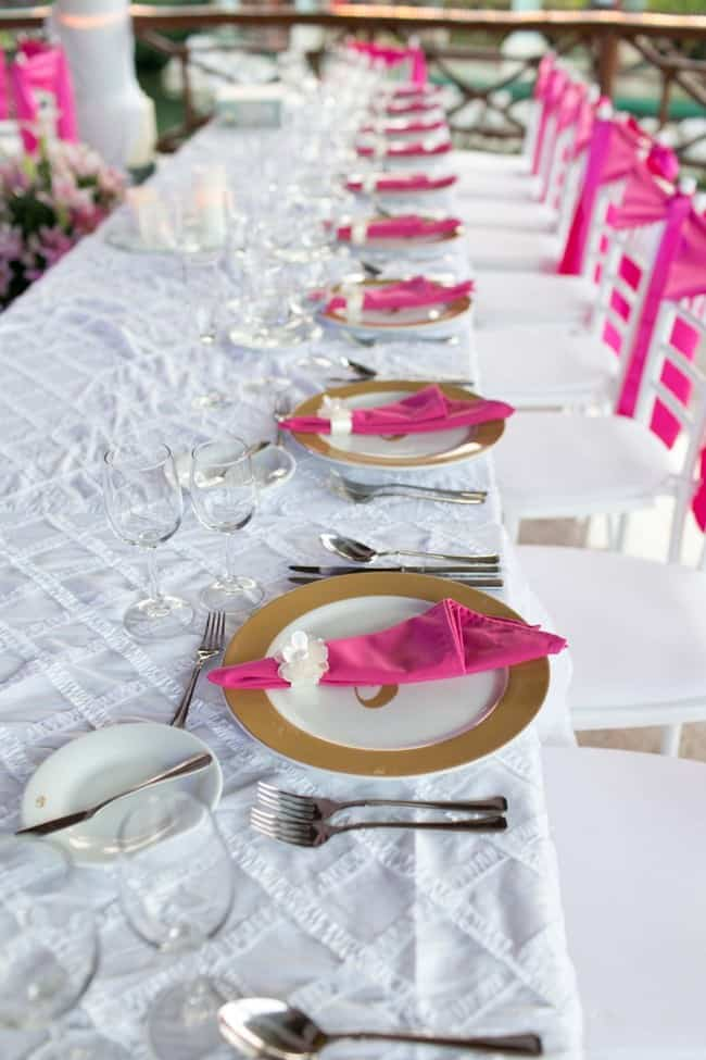 Pink beach wedding table decorations