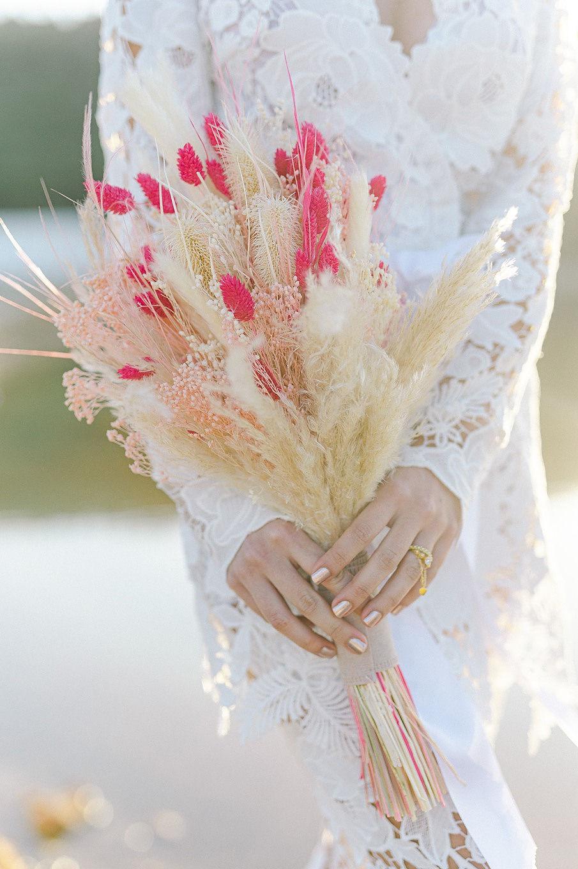 pampas grass wedding bouquet 6