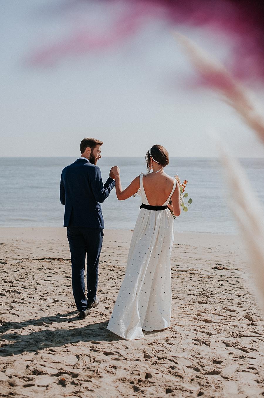 Autumn Beach Wedding Portrait