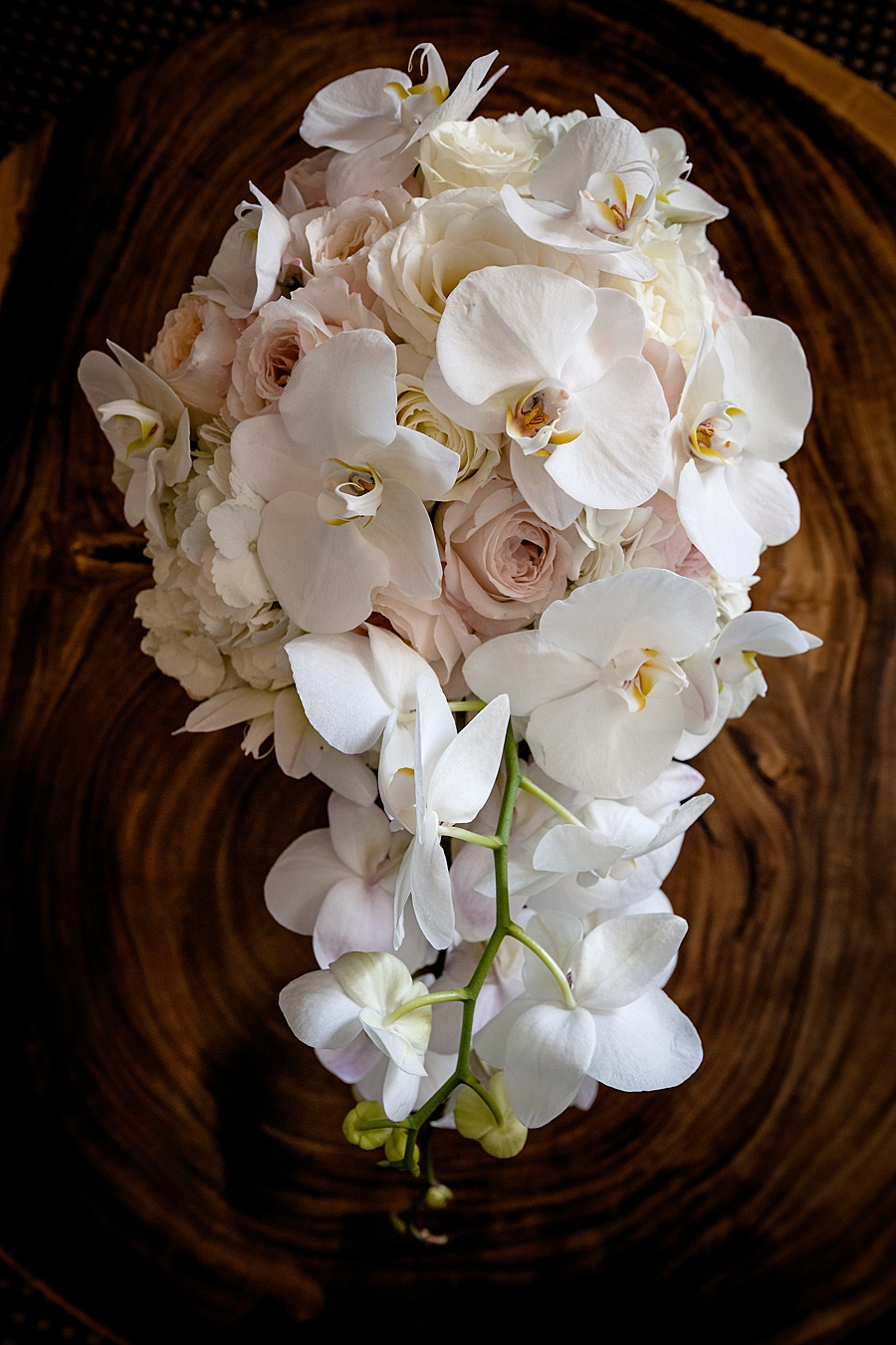 Bridal Wedding Bouquet with White Phalaenopsis Orchids