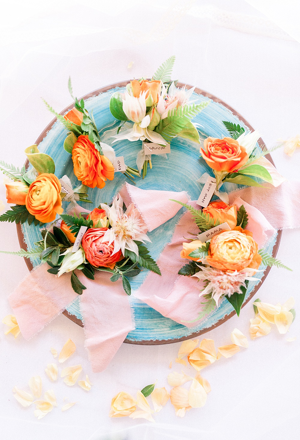 Bright Orange and Coral Wedding Boutonnieres