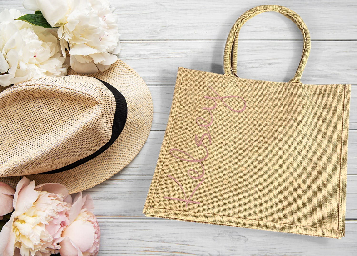 Burlap Wedding Welcome Bags with Rose Gold name