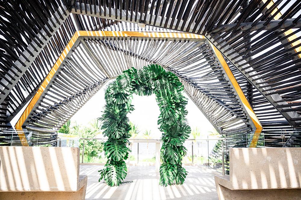 Cancun Destiantion Wedding Ceremony Palm Arch