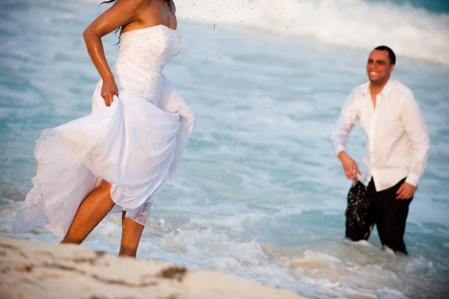 fun Trash the dress images on the beach