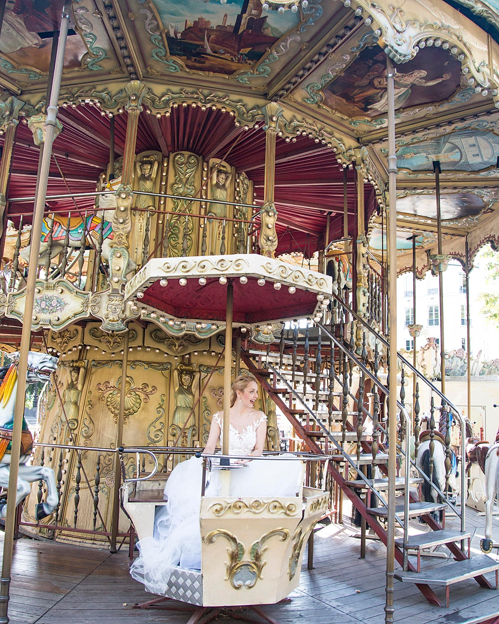 Carousel in Paris Bridal Portrait