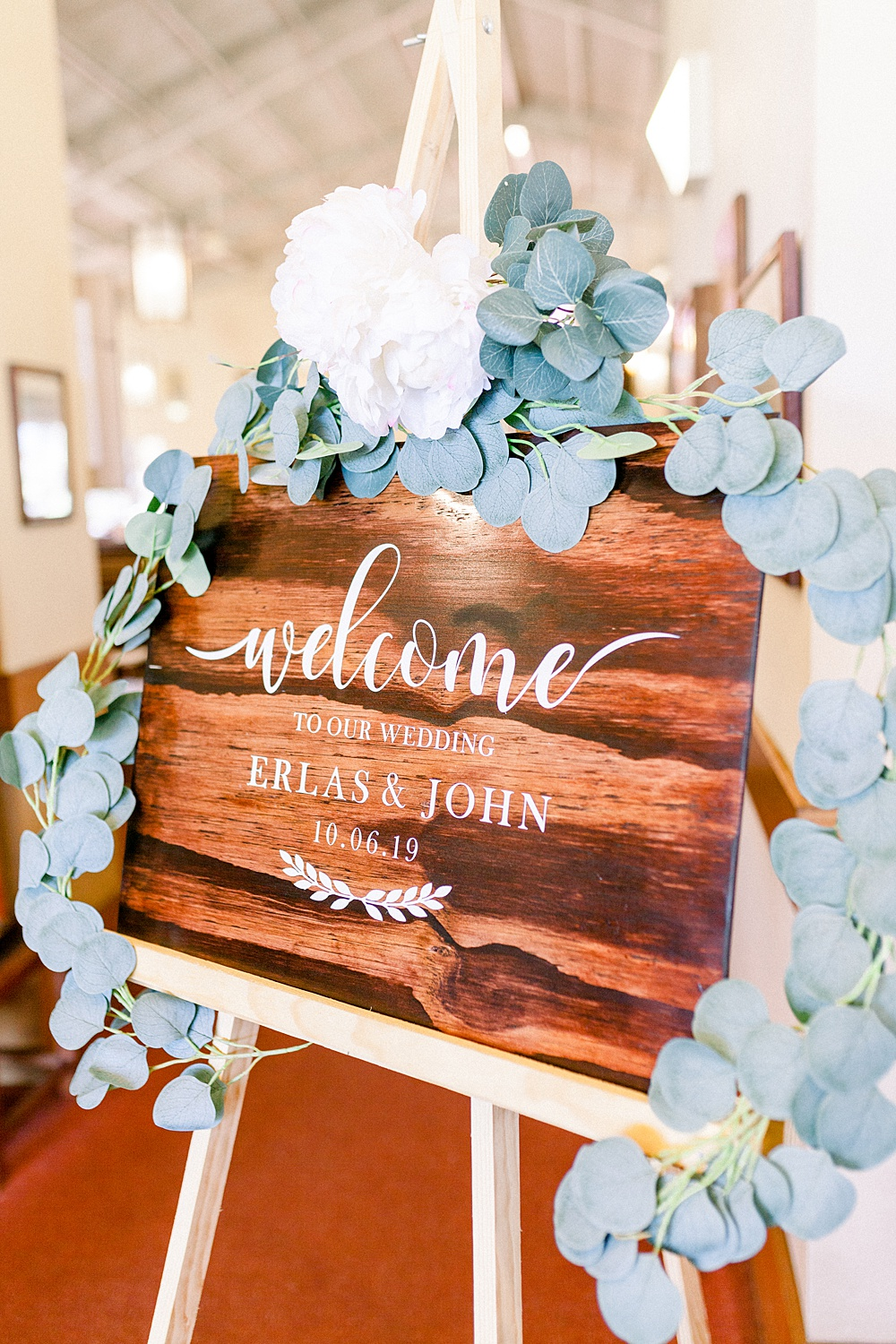 Ceremony Sign Wooden with Eucalyptus