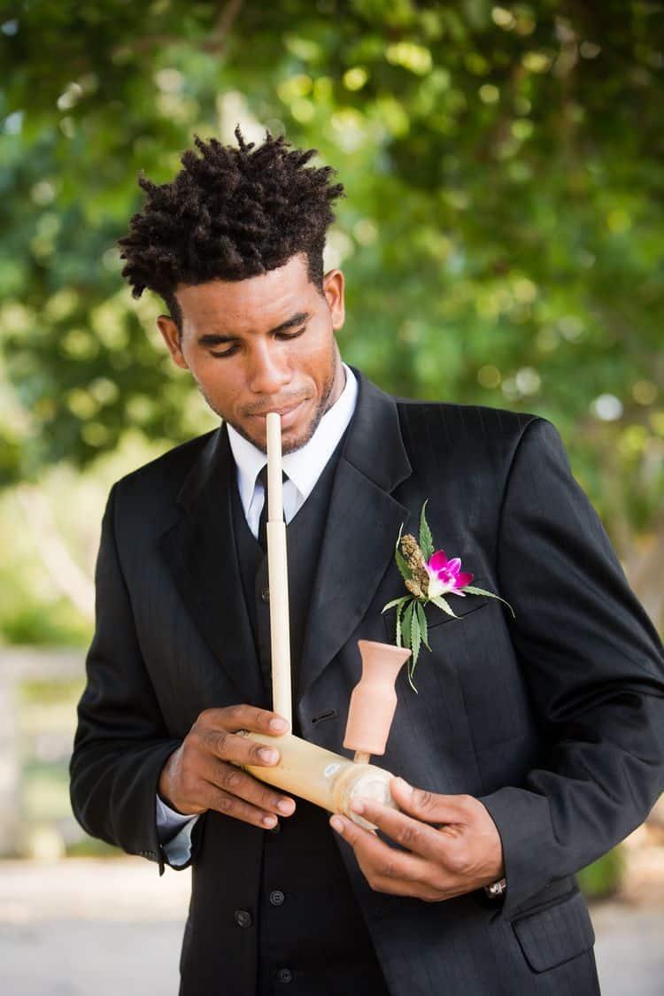 Weed themed destination wedding in Jamaica