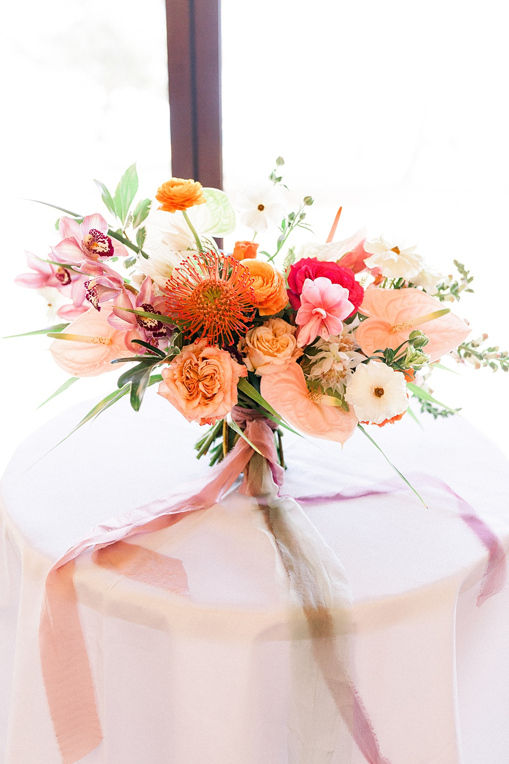 Coral Peach Pink Tropical Wedding Bouquet