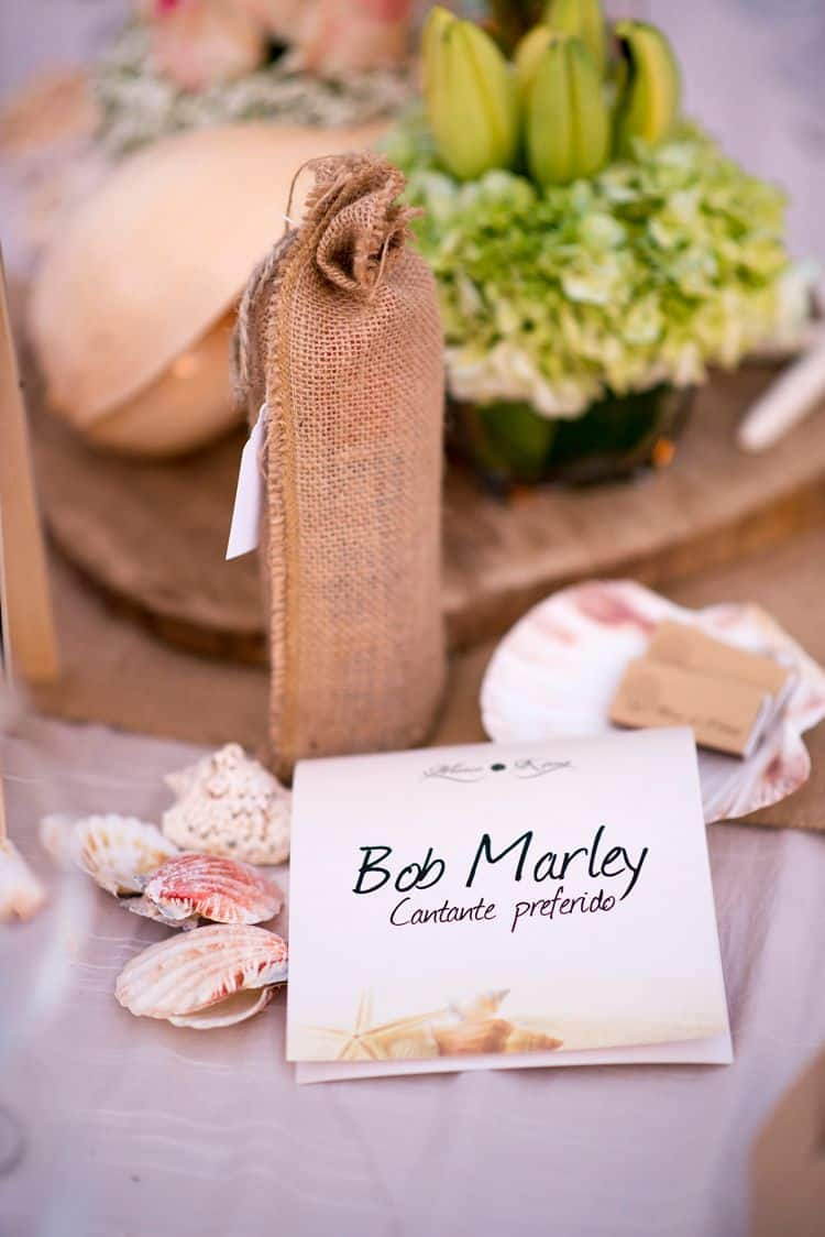 "Favorite things as wedding table numbers - ""Bob Marley: Favorite singer"""