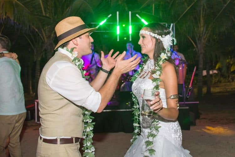 Costa Rica beach wedding reception