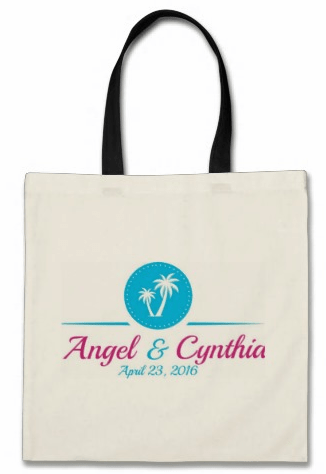 custom destination wedding tote bag