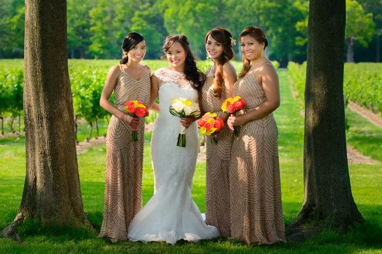Real wedding with bridesmaids wearing an Adrianna Papell dress
