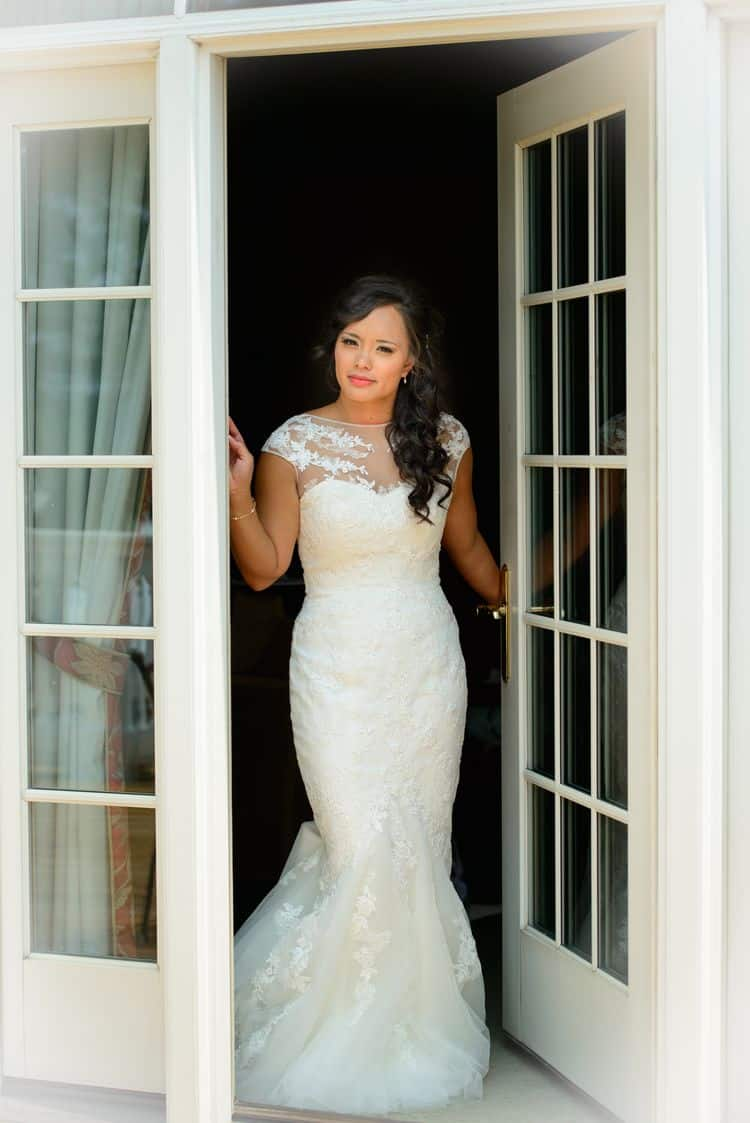 Real bride wearing a San Patrick wedding gown