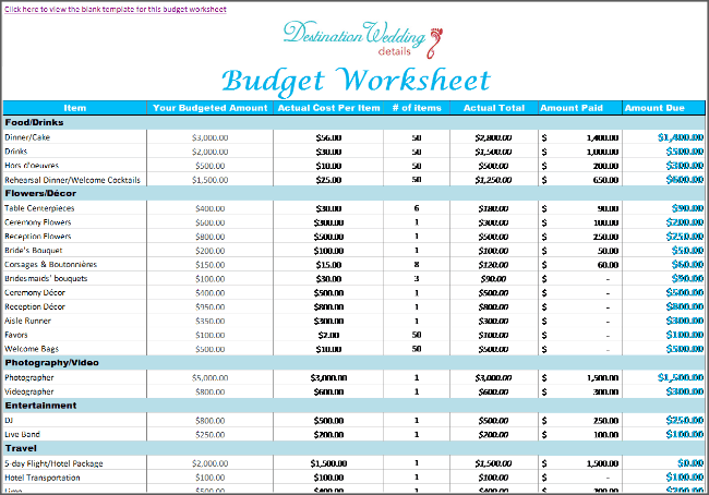 Destination wedding budget spreadsheet simple