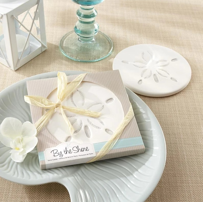 Destination wedding welcome bag favors sand dollar coaster