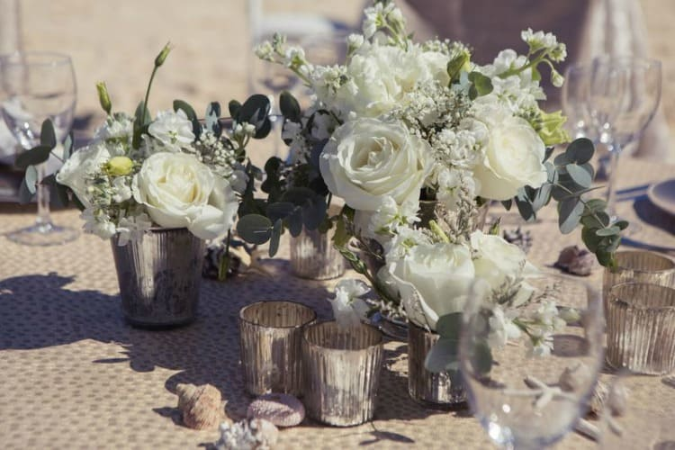 Hard Rock Wedding Driftwood Romance White Centerpiece