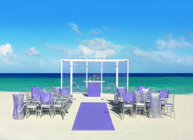 Hard Rock Wedding Purple Shimmer Ceremony 1