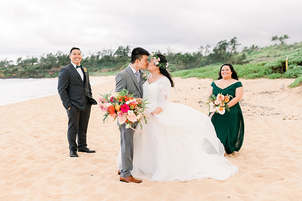 Hawaiian Beach Wedding Bridal Party