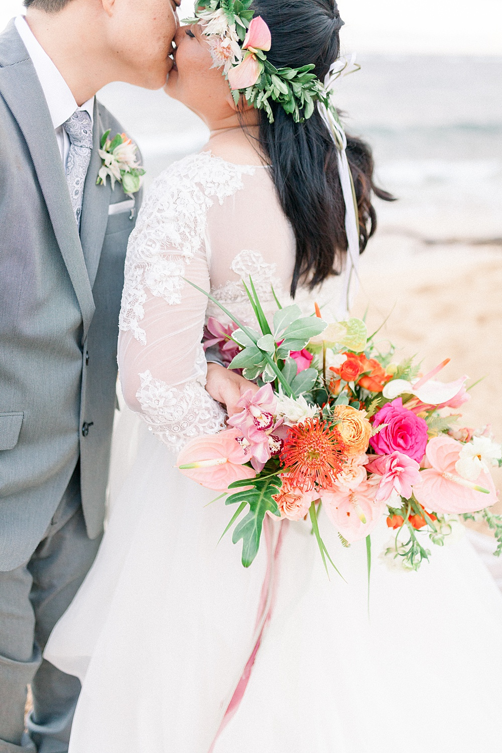 Hawaiian Beach Wedding Portrait