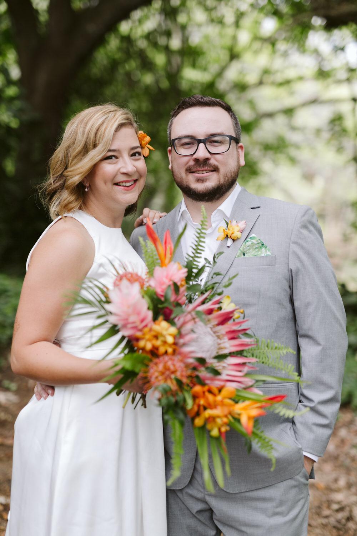 Hawaiian Wedding Bride and Groom