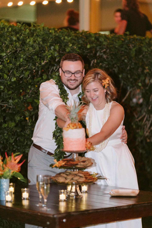 Hawaiian Wedding Cake Cutting