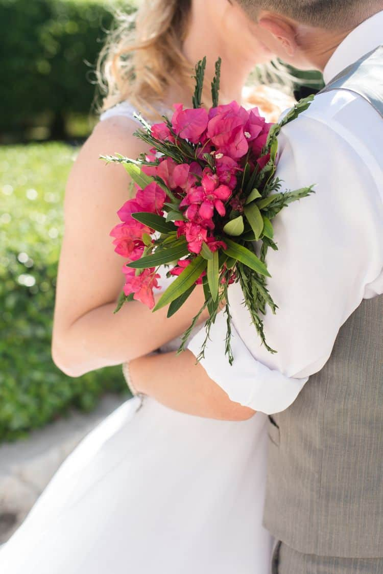 Gorgeous DIY Bougainvillea beach wedding bouquet