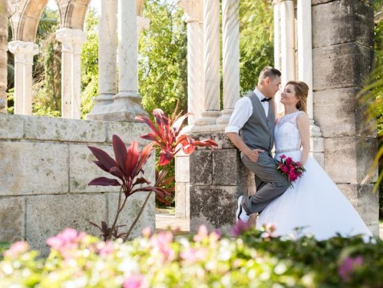 Intimate destination wedding in Nassau at the French Cloister of The One and Only Ocean Club