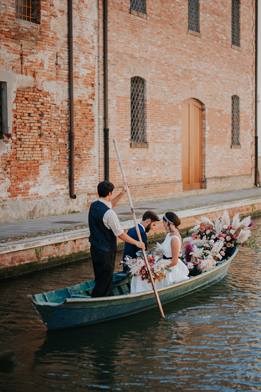 Italian Gondola Filled with Flowers
