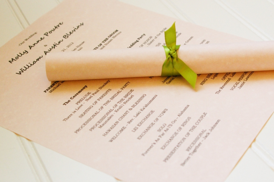 Kraft scroll wedding programs